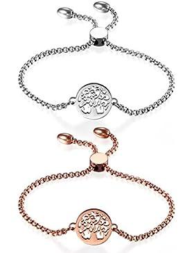 JewelryWe Schmuck Damen Armband, Edelstahl Hohle Baum des Lebens Runde Verstellbar Charm Armkette Armreif, Rosegold...