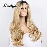 Xiweiya Peluca larga rubia, pelo sintético con encaje frontal, peluca para mujer, arrastre