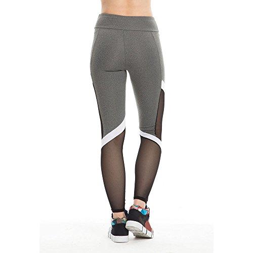 Culater® Femmes Fitness Sport Leggings Mesh Patchwork haute Taille Pantalon de Yoga Slim Gris