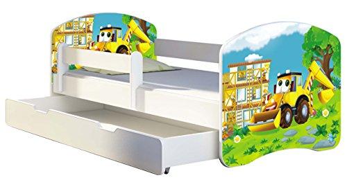 Kinderbett Jugendbett mit einer Schublade und Matratze Weiß ACMA II 140 160 180 40 Design (160x80 cm + Bettkasten, 20 Bagger)