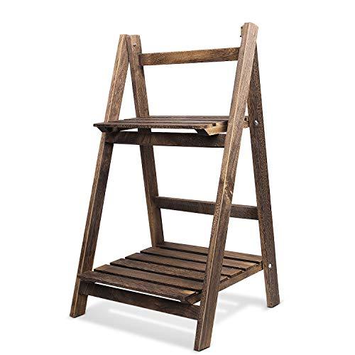 Flexzion - espositore pieghevole a due ripiani, in legno naturale, pieghevole, per serre, giardino, interni, esterni, colore: marrone rustico