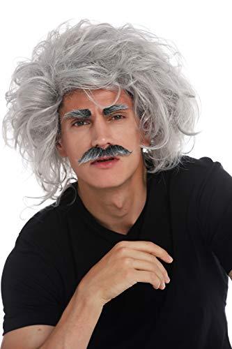 WIG ME UP - 31999-FR68A Perücke Karneval Halloween Einstein Verrückter Wissenschaftler Opa Professor Grau Wild Schnauzbart