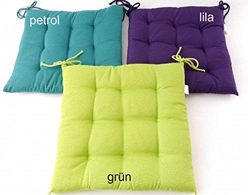 Comfort Sitzkissen 9-Punkt-Steppung Kissen in grün mit Kordeln Sitzauflage 40x40 cm Outdoor & Indoor Polster Stuhlkissen Gartenkissen gesteppt Typ332