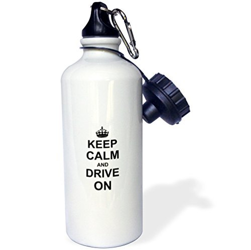 Sports Water Bottle Gift, Keep Calm And Drive On Carry On Driving Gift For Taxi Bus Race Car Pro Drivers Funny Humor White Stainless Steel Water Bottle for Women Men 21oz