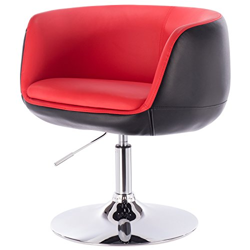 Eugad 1er Set Barsessel Drehsessel aus verchromtem Stahl 2 farbige Sitzfläche aus Kunstleder Rot+Schwarz BH42rts-1 (Drehsessel-leder-sessel Und Hocker)