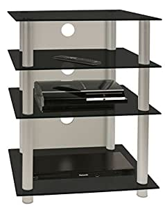 vcm hifi m bel rack phono turm medienrack medienm bel regal tisch aluminium glas schwarzglas. Black Bedroom Furniture Sets. Home Design Ideas