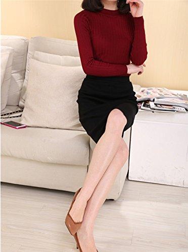 Smile YKK Jupe Taille Haute Femme Tricot Fendue Moulant Bureau Chauffant Noir