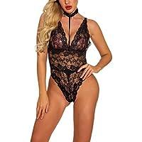HEALLILY Mujeres Una Pieza Lencería Profunda V Encaje Body Babydoll Teddy Underwear Ropa de Dormir para Mujeres Dama (Negro) Talla M