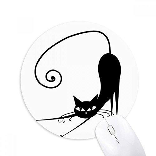 chwarze Katze Halloween-Tier-Kunst-Silhouette Runde Griffige Gummi Mousepad Spiel Büro Mauspad Geschenk ()