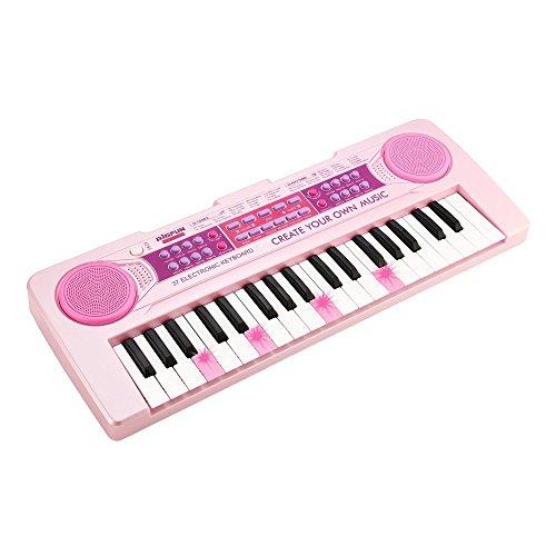 Chargable Klavier für Kinder, JINRUCHE 37 Tasten multifunktions Lade Elektronische Kinder Klaviertastatur Pädagogisches Spielzeug Orgel für Kinder mit Mikrofon (Rosa)