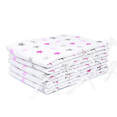 Amilian® Bettumrandung Nest Kopfschutz Nestchen 420x30cm, 360x30cm, 180x30 cm Bettnestchen Baby Kantenschutz Bettausstattung Sternchen GROß rosa (420x30cm)
