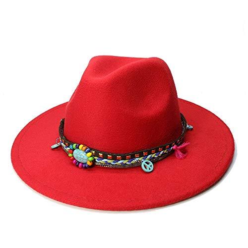 MTX-Sonnenhüte Hut, 1 stück Heiße Unisex Vintage Gebläse Jazz Hüte Frauen Männer Casual Trendy Winter Panama Cap Cowboy Fedora Gangster Cap (Farbe : Rot, Größe : 56-58cm)