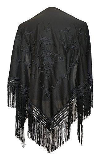 La Señorita Mantones bordados Flamenco Manton de Manila negro con flores negro