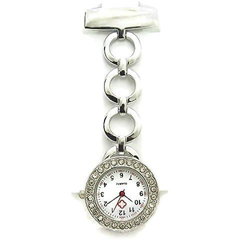 QBD classico con cristallo rosso Croce infermieri orologio ospedale medico paramedico Tunica Spilla Orologio da (Orologio Di Grandi Dimensioni Fob)