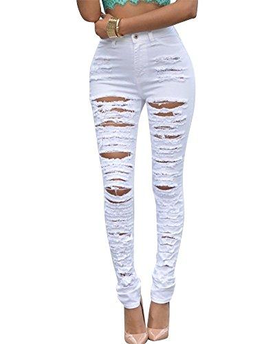 Missmao donna ginocchio strappato skinny jeans delle donne pantaloni a vita alta legging bianca s