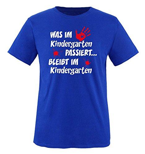 Comedy Shirts - Was im Kindergarten passiert... - Kinder T-Shirt - Royalblau / Weiss-Rot Gr. 98-104 (T-shirt Passiert Kinder)