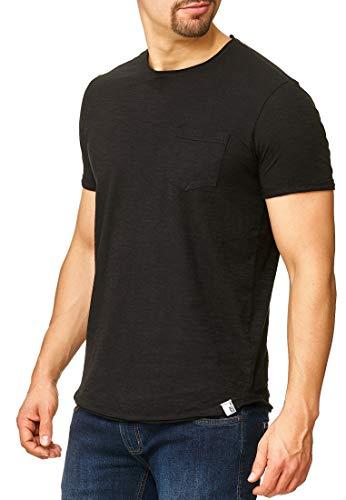 Baumwolle Schwarzen Kurzen Ärmel T-shirt (Indicode Herren Willbur Herren T-Shirt Kurzarm Shirt mit Rundhalsausschnitt 30 Farben S-3XL Black Pocket XL)