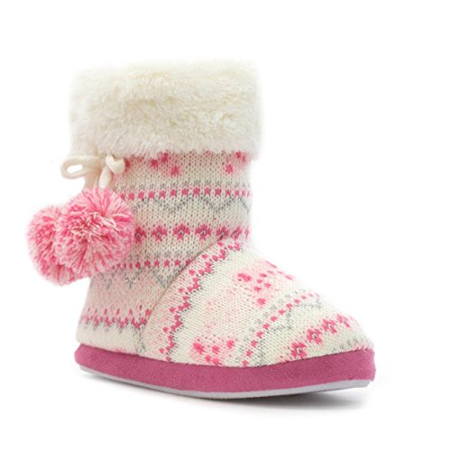 The Slipper Company - Girls Pink Sparkle Knit Fur Top Bootie Slipper - Size 4 - Multicolour