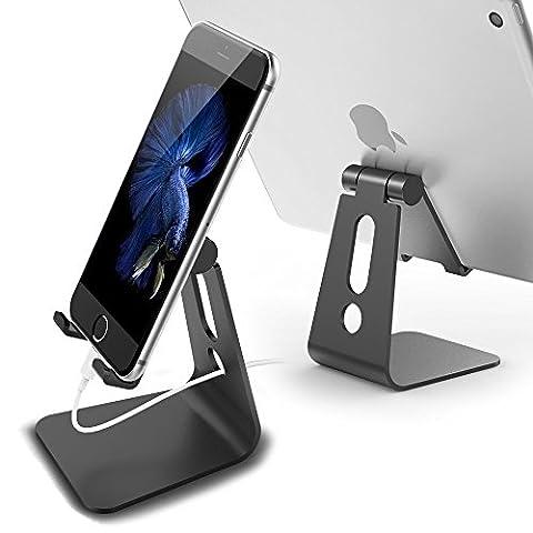 ECVISION einstellbare Luft-und Raumfahrt Aluminium Multi-Angle Universal Phone Stand 270 Grad rotierende Handy-Ständer, Universal Desktop Ladestation für alle anderen Tabletten Telefone (Schwarz)