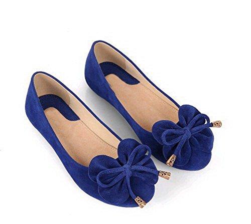 AalarDom Damen Ziehen Auf Rund Zehe Ohne Absatz Rein Flache Schuhe Blau