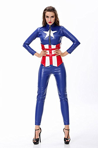 Neue Frau 3 Stück Kunstleder Captain America Super Hero Kostüm Halloween Seasonal Kostüm Fancy Dress Hen Night Halloween Party super hero Größe UK 10–12 EU 38–40 (Spider Woman Neue Kostüm)