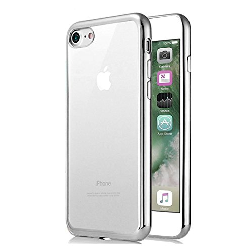 Cover iPhone 7, Yoowei® Bumper Caso Chiaro Cristallo Trasparente Ultra Sottile Shock-Absorption e Anti-Graffio Placcatura Morbido TPU per iPhone 7 (Grigio)