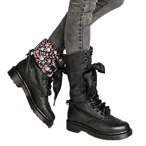 VJGOAL Damen Stiefel, Damen Chic Retro Flower Prints Militär Stiefel Casual Leder Mitte Rutschfeste Runde Toe Lace-Up Frühling Herbst Schuhe(Schwarz, 38 EU) (Green Toe Schuhe)