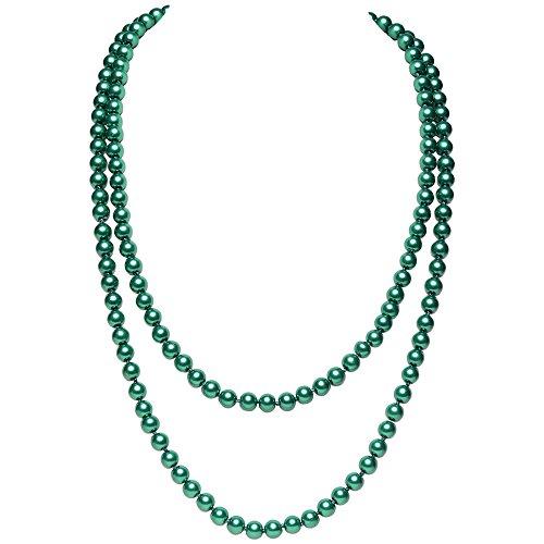 itation Perlen Kette Flapper Art Deco 1920s Gatsby Kostüm Accessoires Lange Perle Halskette 150 cm / 59
