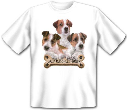 Süßes Hundemotiv Jack Russell Terrier mit Knochen : 3 Jack Russell Terrier -- Hunde T-Shirt Größe: S Farbe: Weiss