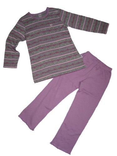 Kanz Schlafanzug lang Mädchen Pyjama grau lila, Gr. 98