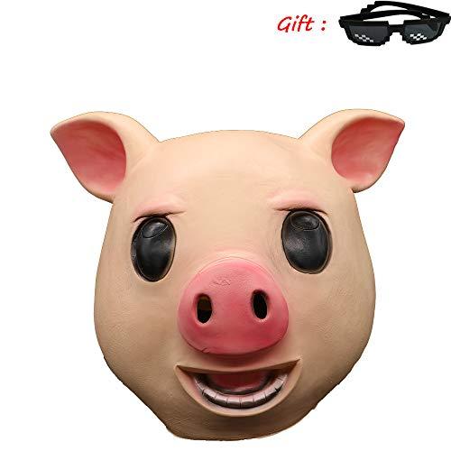 Kostüm Algen - Halloween Algen Schwein Maske, Tier Schwein Kopf Masken, Süße Kostüm Spielt Helm, Perücke Film Und Game Work Make-Up Requisiten,B