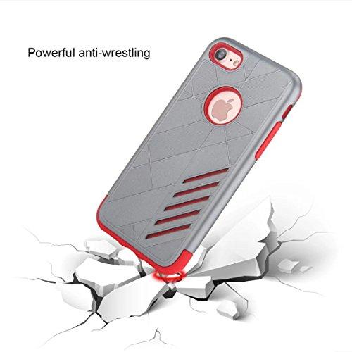"""MOONCASE iPhone 7 Coque, Combo Housse Hybride TPU +PC Etui Antichoc Anti Dérapant Robuste Protection Dual Layer d'Armure Lourde Case pour iPhone 7 4.7"""" Noir Gris Rouge"""