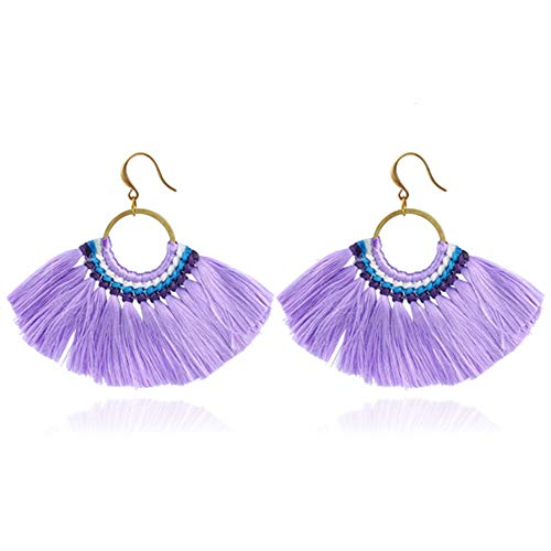 HSUMING Women es Beaded Tassel Earrings Long Fringe Drop Bohemian Earrings Sektor Dangle 5 Farben,Purple
