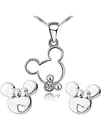 findout plata hueca Mickey Mouse collar colgante lindo + aretes .para mujeres niñas. (s1480)