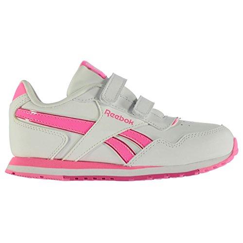Reebok Kinder Maedchen Classic Glide Leder Turnschuhe Freizeit Sportschuhe Sneaker White/Pink