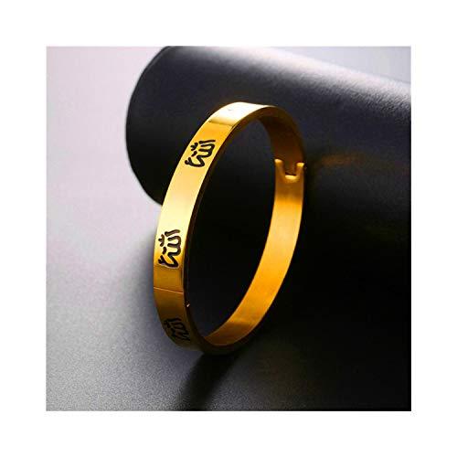 Pulsera Brazalete, Regalo De La Joyería,Muslim Allah Jewelry New Bangle  Women Vintage Cuff Bangles Stainless Steel Islamic Bracelet H332 Gold-Color