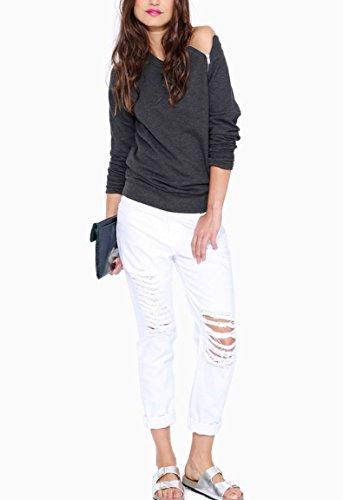 Blansdi Femme T-shirt Casual Sexy Epaule Nue Manches Longues Hauts Blouse Tops Slim Fit Gris