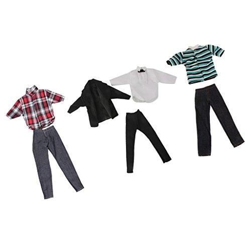 Sharplace 3 Set Puppen Kleidung, Bekleidung Für Ken Barbie Puppen Zubehör, Inkl T-Shirt, Hemd, Hosen, Jeans, Mantel