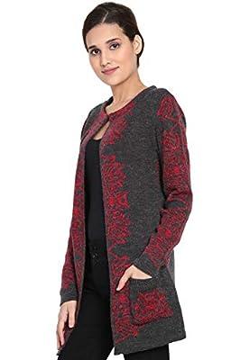 BOXYMOXY Jacquard Designer Dark Grey Cardigan Sweater with Hook and Pockets