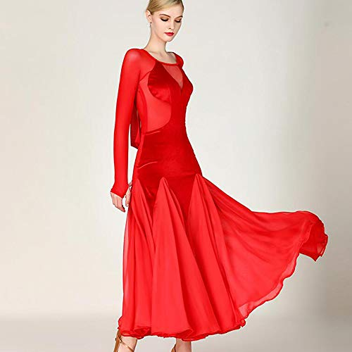 (WESEAZON 2019 Latin Dance Kleid Velvet Splicing Lange Ärmel Walzer Social Dance Rock roten Runde Kragen Kostüm voluminösen Rock Größe S M,M)