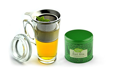 Asobu Tea Party Mug with Kiwi Kiss Tea, 15-Ounce, Clear -