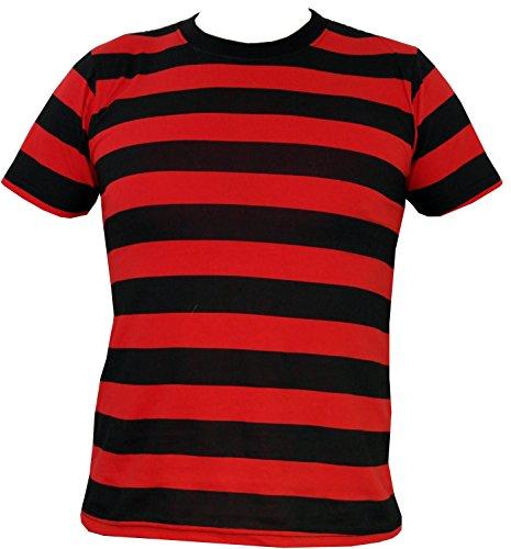 Rock Star Academy negro y rojo T-camiseta de manga corta diseño a rayas