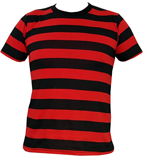 Rock Star Academy Negro Rojo Rayas Camiseta Negro