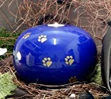 Kugelurne aus Keramik, blau glasiert, mit goldf. Pfötchenspuren, Vol. ca. 2,00 Ltr.