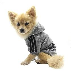 Vêtements pour Animaux, Adidog Chien Chat à Capuche vêtements Chiot Pull Chaud à Capuche Chaud QiCheng & LYS (Gris, XS)