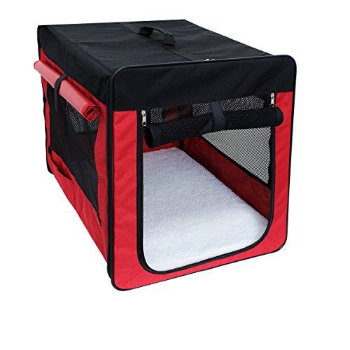ECD Germany Klappbare Transportbox für Hund und Katze M 580*460*530mm inkl. Polster aus Lammfellimitat Rot Hundebox Hundetransportbox Autobox Transporthütte