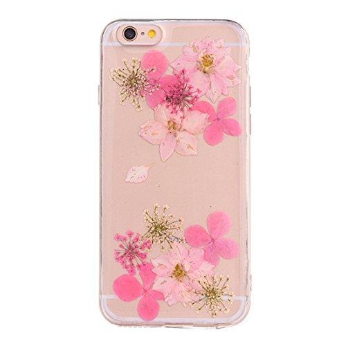 Wkae Epoxy Dripping gepresste echte getrocknete Blume weiche transparente TPU Schutzhülle für iPhone 6 & 6s ( SKU : Ip6g2996c ) Ip6g2996c