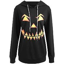 Camisetas de Halloween, BaZhaHei, Sudadera con Capucha con Capucha Impresa de la Cara de
