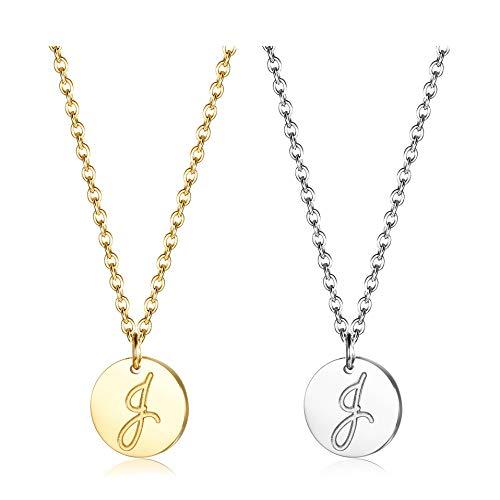ahl Halskette mit Buchstaben Runder Initial-Anhänger Silberton und vergoldet 18K Buchstabenhalskette für Damen Buchstabe J ()