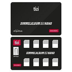 equinux tizi Simmelalbum 8X Nano - Nano SIM Karten Sammelalbum (SIM Organizer) für 8 Nano SIM Karten, inklusive SIM Auswurf-Pin